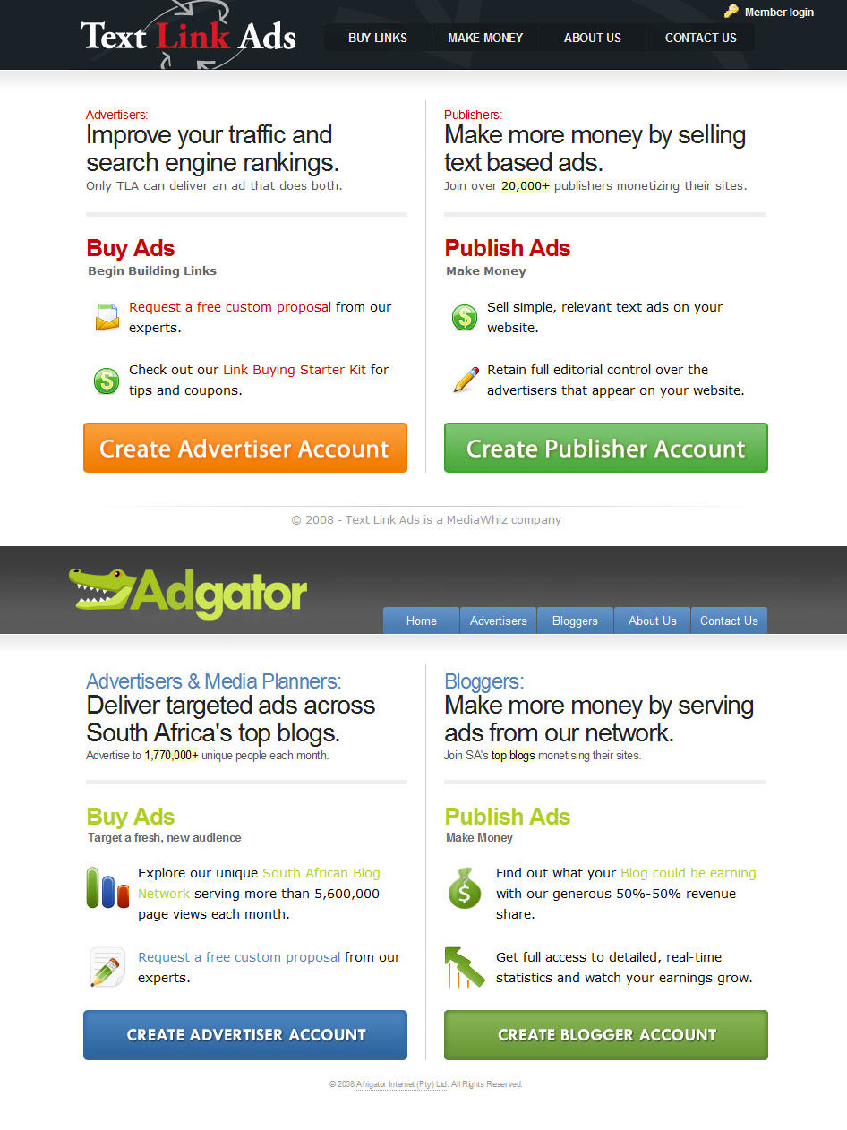 AdGator Copies Text Link Ads [Blatant Design Piracy]
